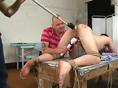 Spanked till his cheeks burn red, fucked with a vibrator, nuts tied, penis head taunted with a vibrator, feet caned, made to screw himself, suck dick and lick male arsehole, fed mouthfuls of urine and face washed in urine.